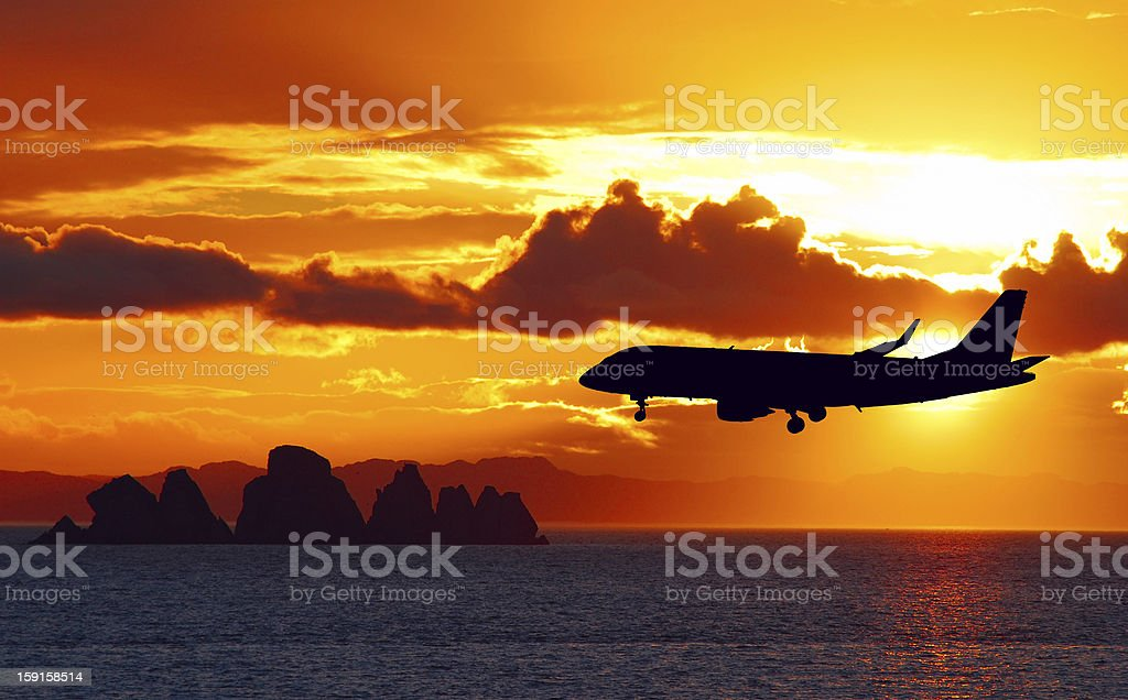 Airplane on a landing path royalty-free stock photo
