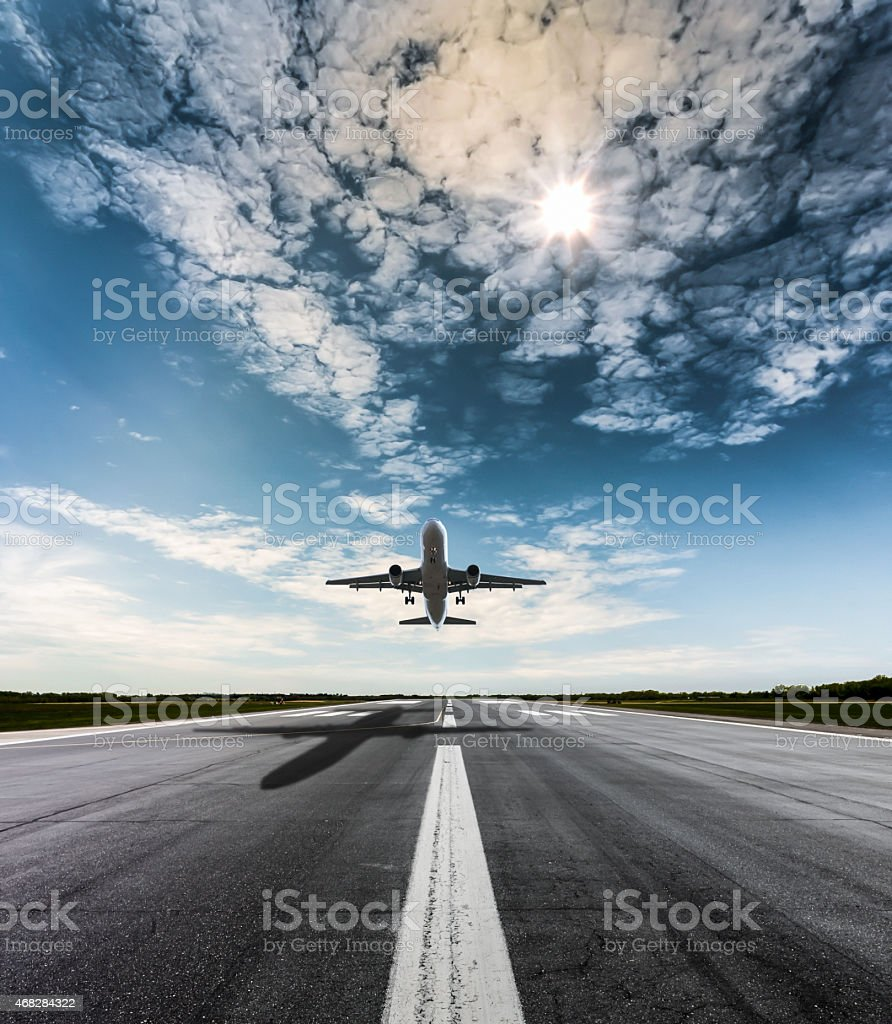 Airplane on a sunny day stock photo