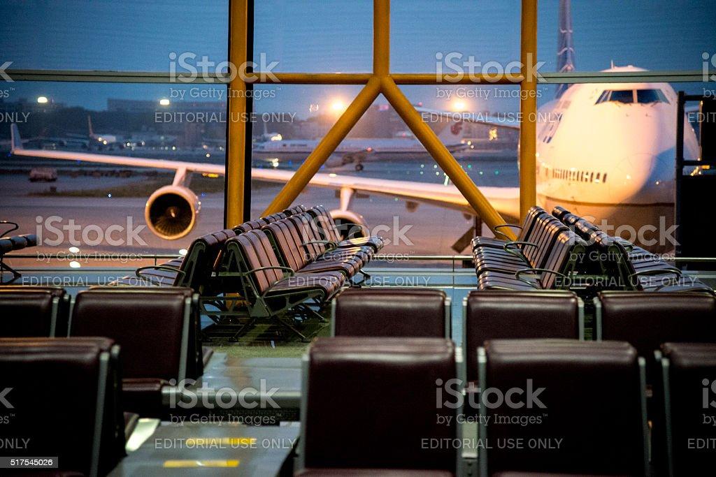 Airplane on Beijing International Airport stock photo