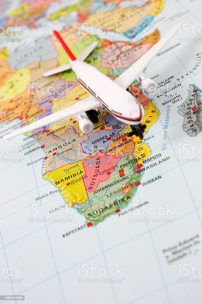 Airplane on  South Africa map royalty-free stock photo