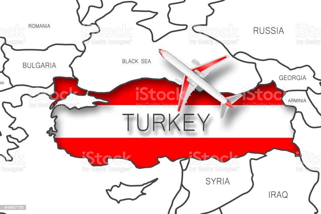 Airplane on Turkey map stock photo