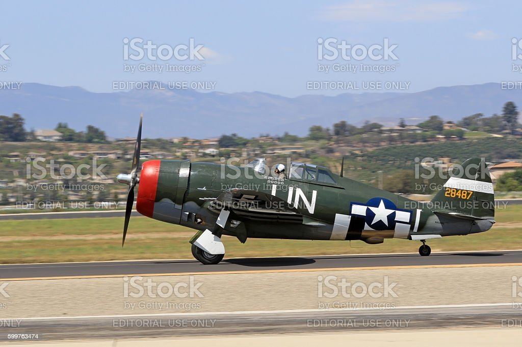 Airplane P-47 Thunderbolt taxi on runway stock photo