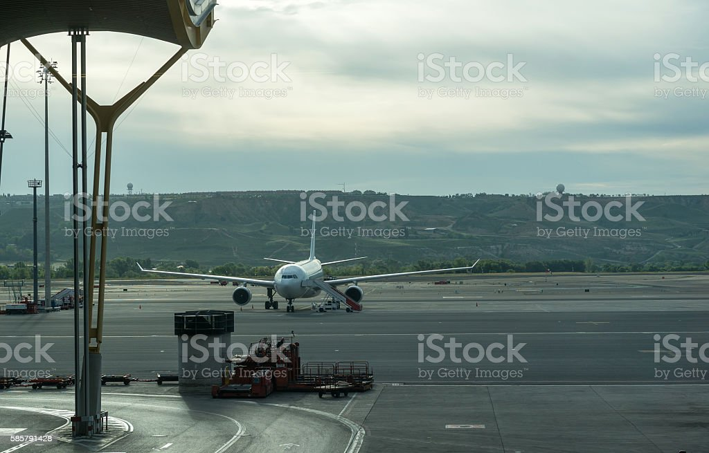 Airplane parked in Madrid Barajas airport stock photo