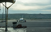 Airplane parked in Madrid Barajas airport