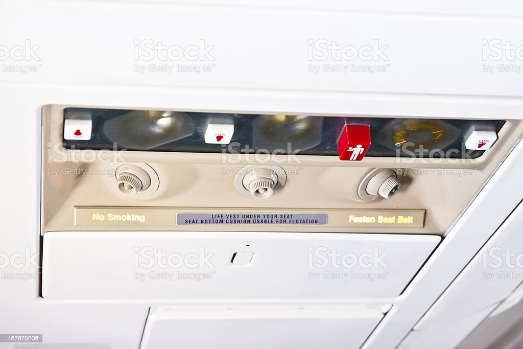 Airplane Passenger Control Devices royalty-free stock photo