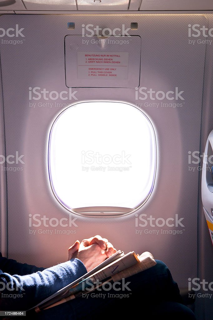 Airplane Passenger With Folded Hands stock photo
