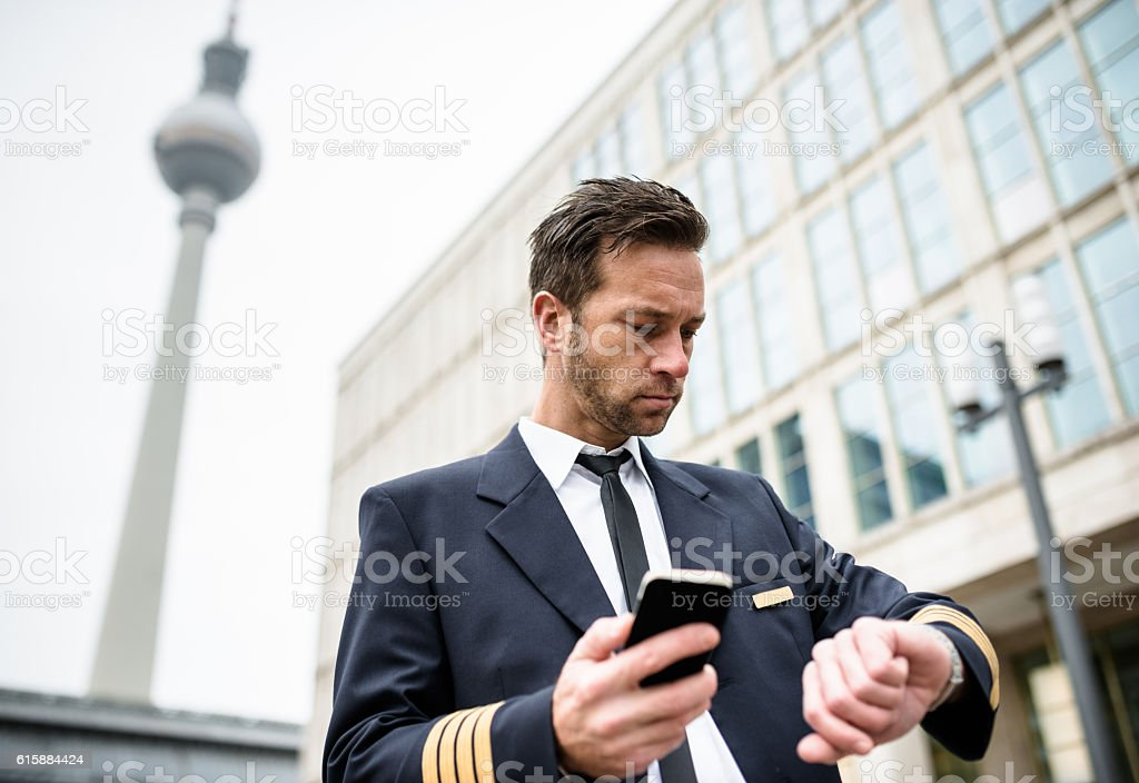 Airplane Pilot on the city of Berlin stock photo