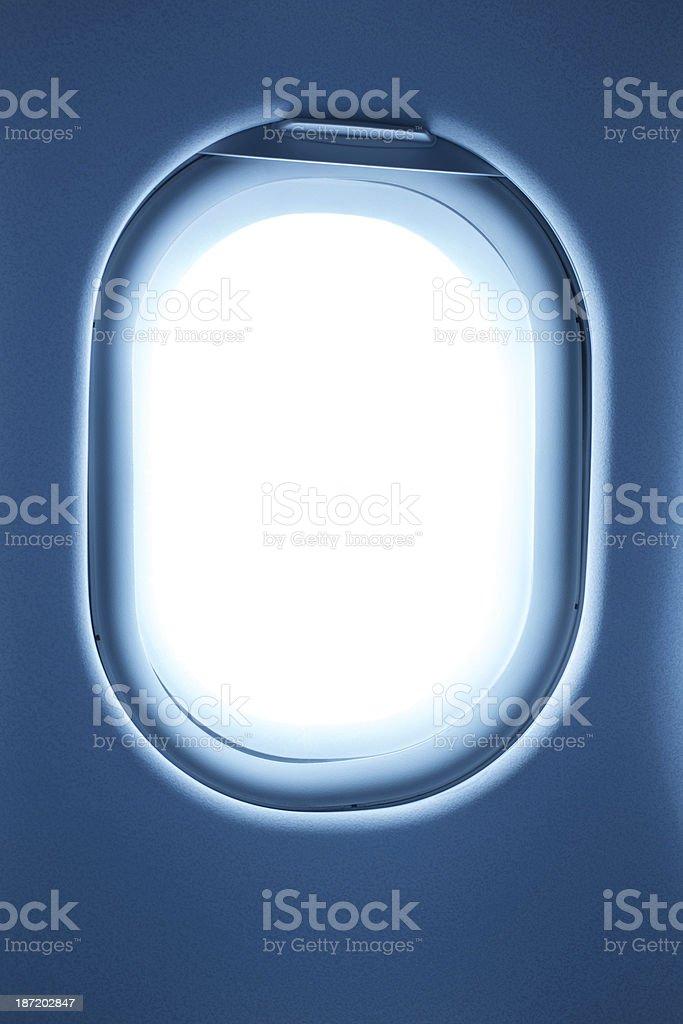 Airplane porthole window frame royalty-free stock photo