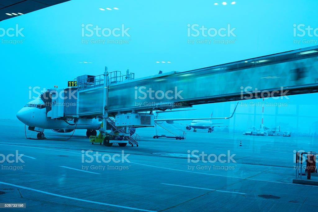 airplane preparing for a new flight stock photo