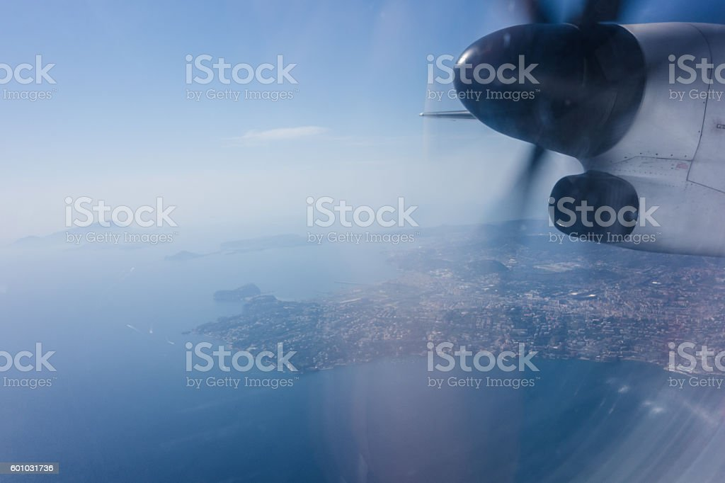 Airplane propeller and view stock photo