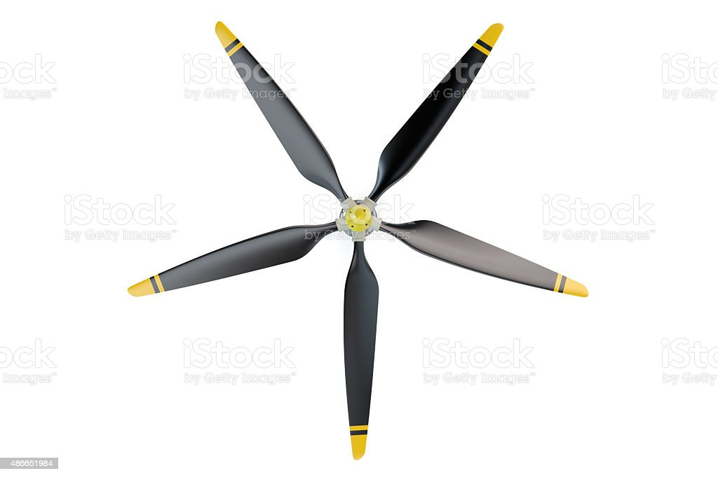 Airplane propeller with 5 blades stock photo