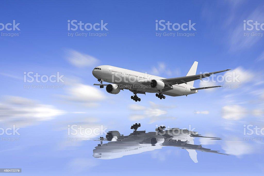 Airplane reflextion. royalty-free stock photo