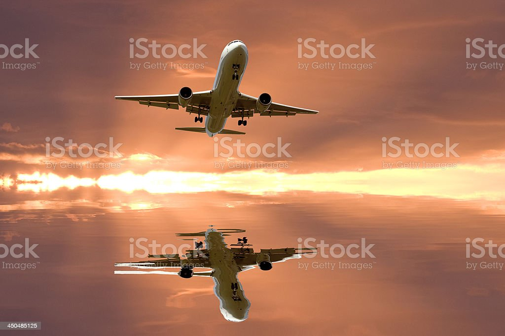 Airplane reflextion. royalty-free stock photo