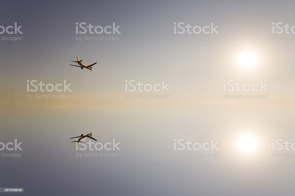 Airplane reflextion royalty-free stock photo