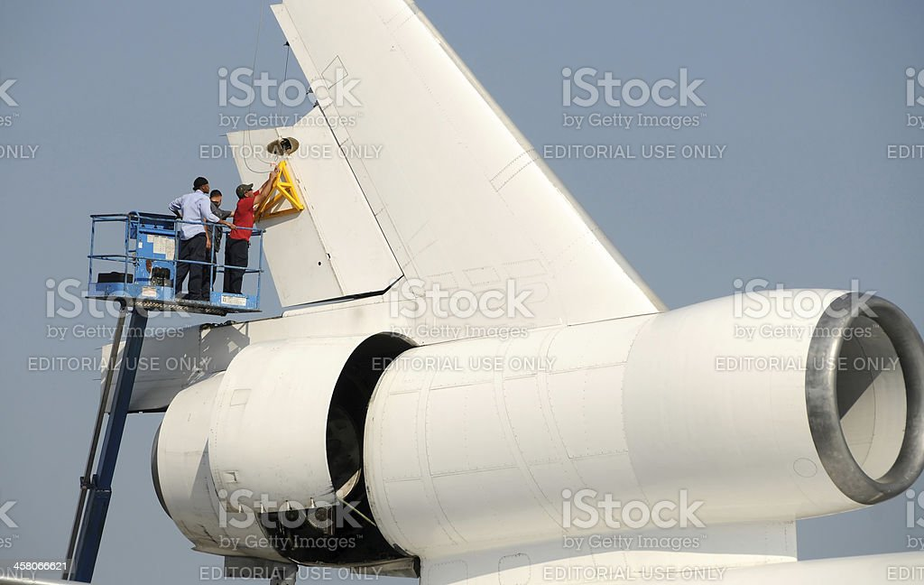 Airplane rudder removal royalty-free stock photo