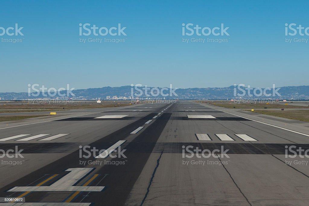 Airplane runway stock photo