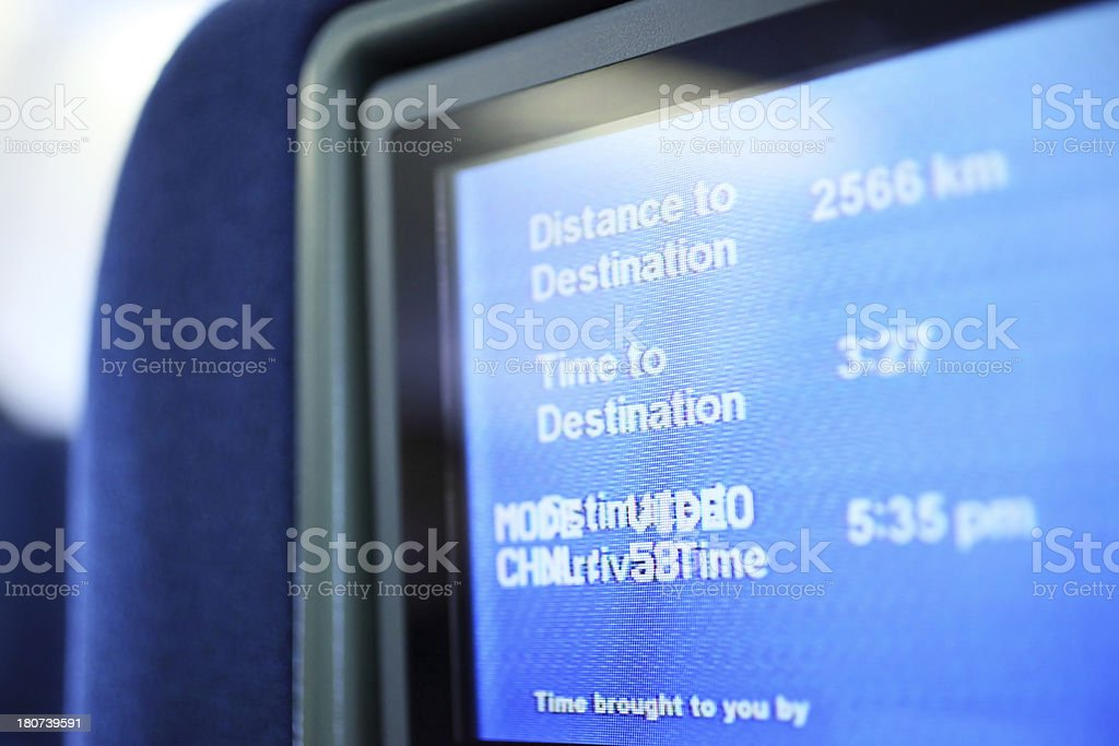 Airplane Seat LCD Screen royalty-free stock photo