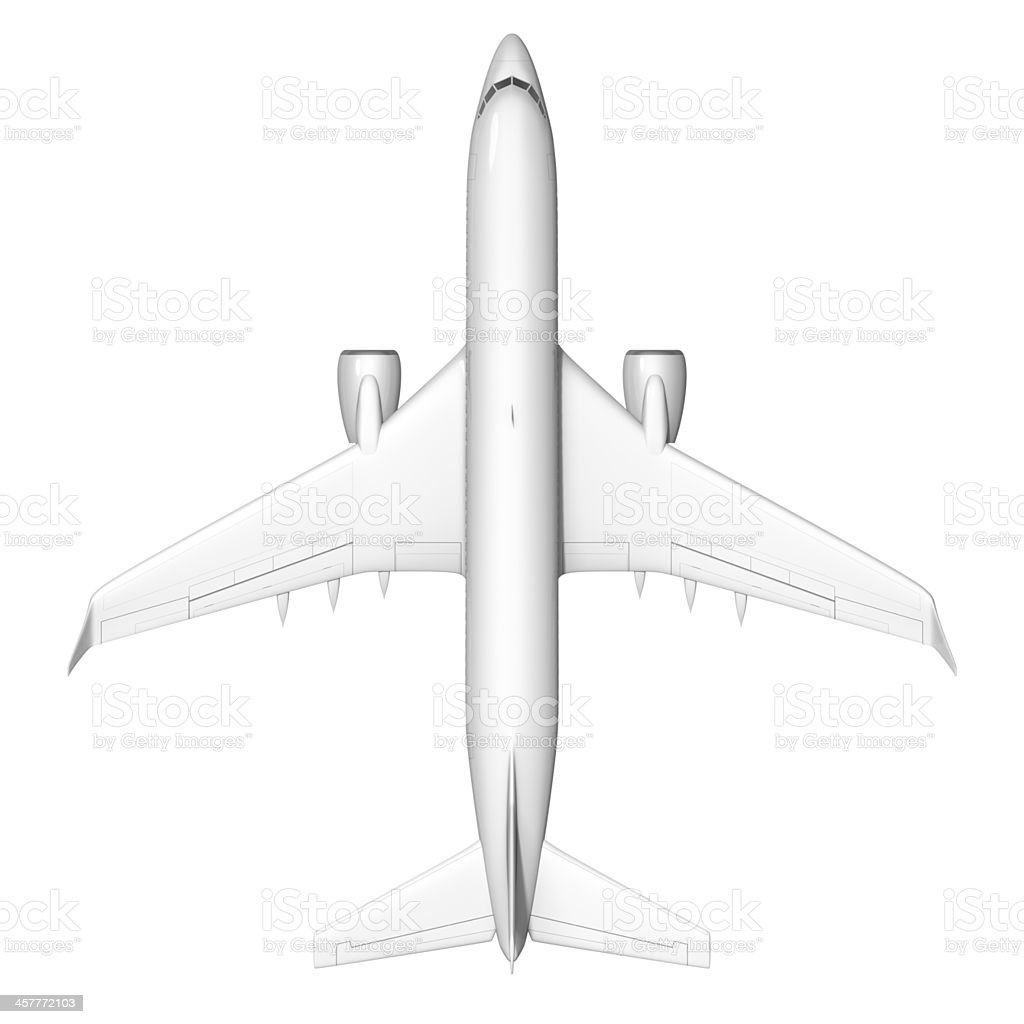 Airplane shot from above isolated on white background stock photo