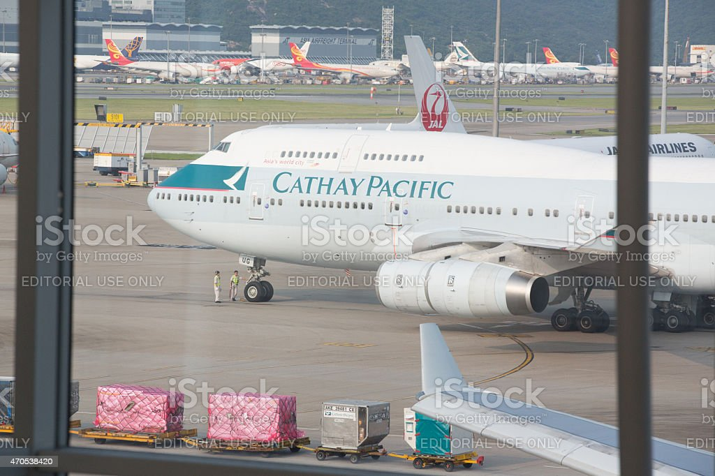 747 airplane sits on tarmac at Jakarta International airport stock photo
