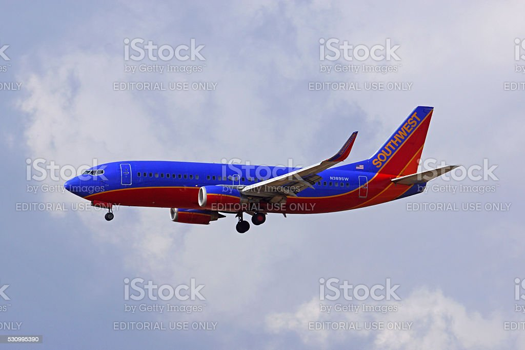 Airplane Southwest Airlines 737 jet stock photo