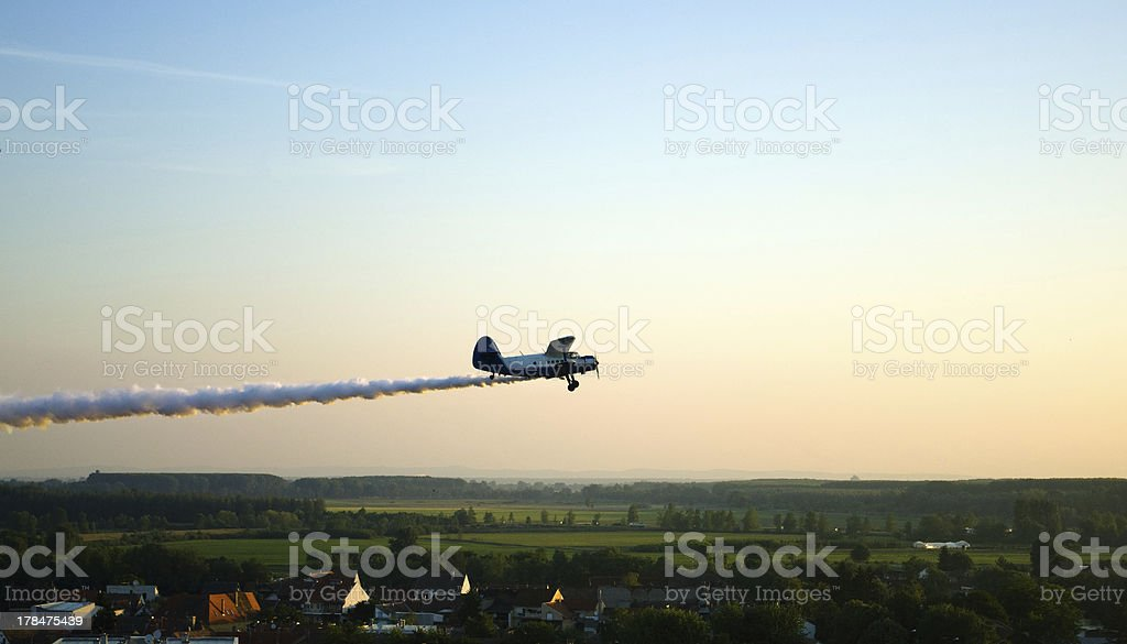 Airplane spraying stock photo