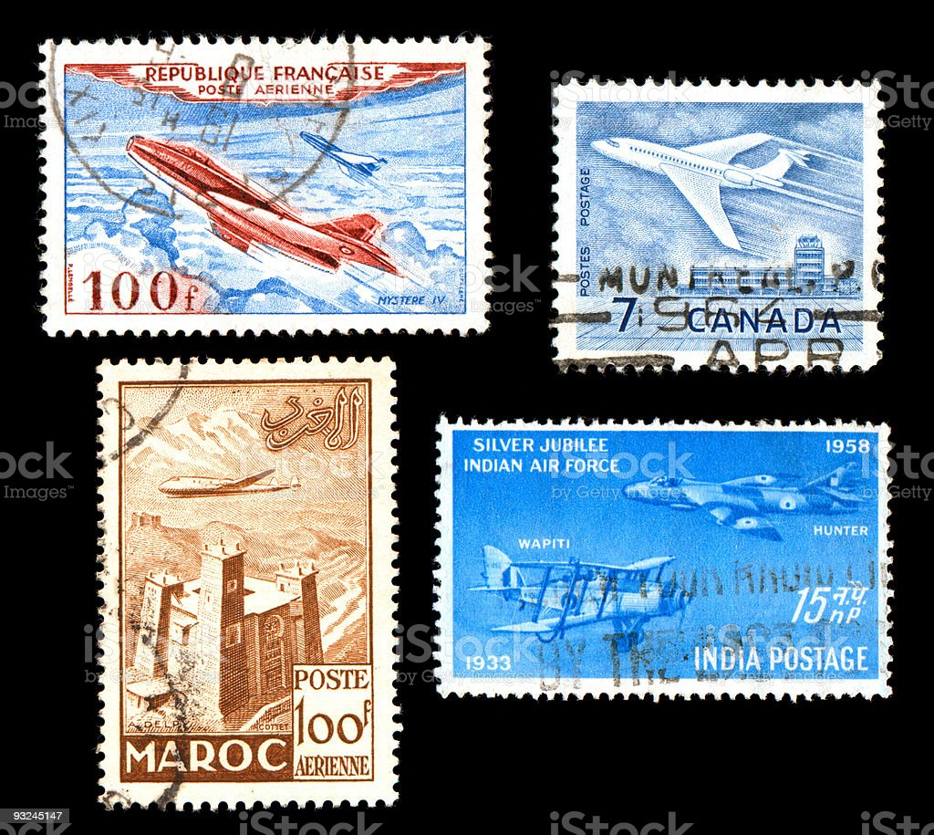 Airplane Stamps from around the world royalty-free stock photo