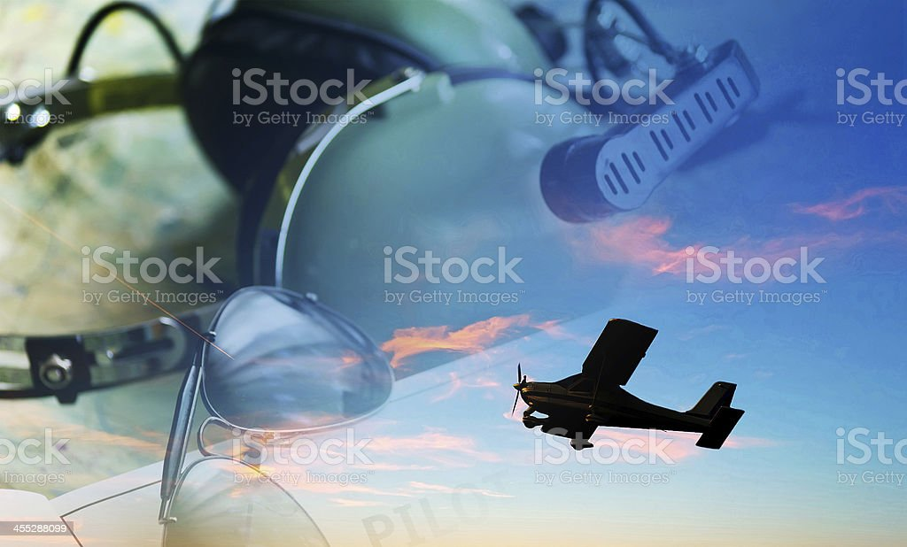 airplane, sunglasses and headset stock photo