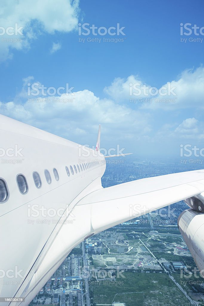 airplane take off from the shanghai city royalty-free stock photo