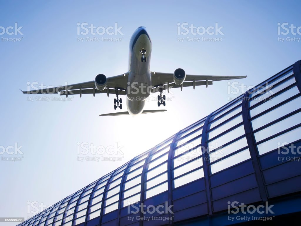 Airplane take off in airport royalty-free stock photo