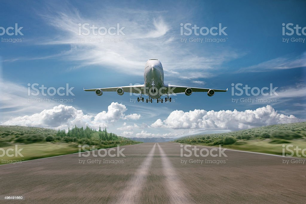 airplane take off - landing stock photo