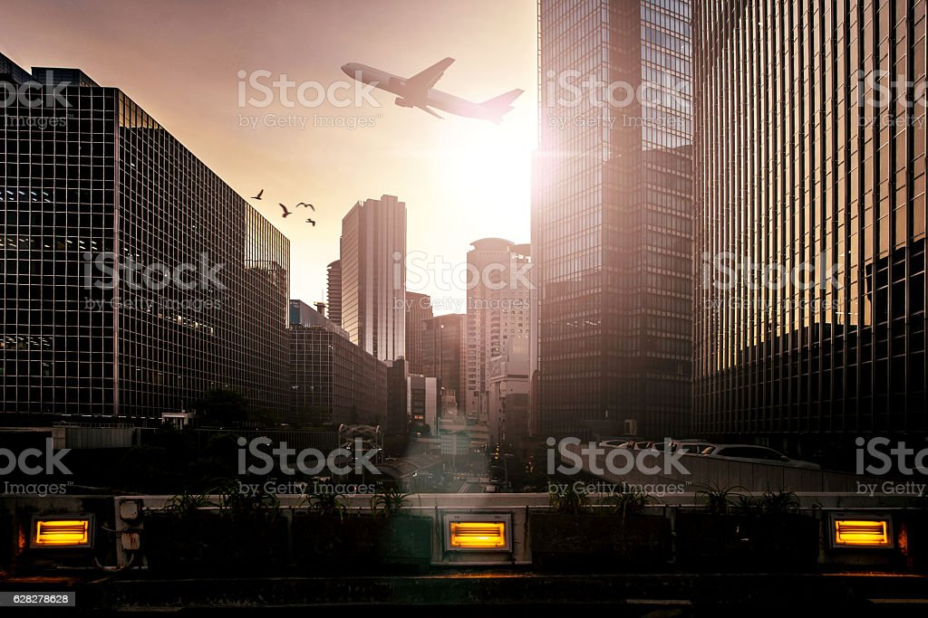 Airplane taking of in Osaka-Japan city downtown stock photo