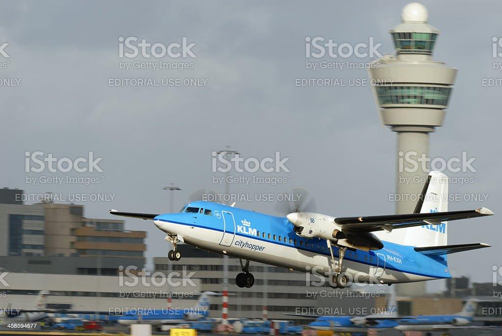KLM airplane taking of royalty-free stock photo