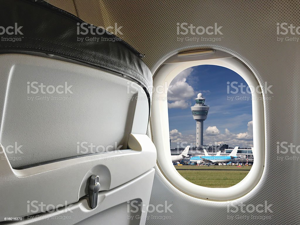 Airplane taking off airport Schiphol Amsterdam, Netherlands stock photo