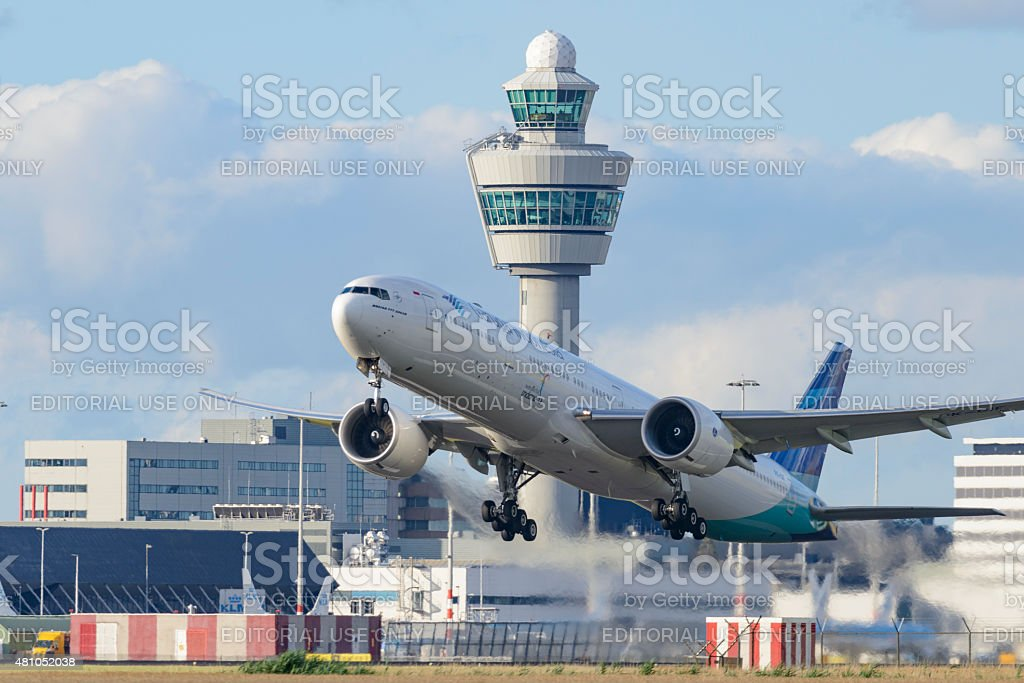 Airplane taking off from Schiphol Airport in Holland stock photo