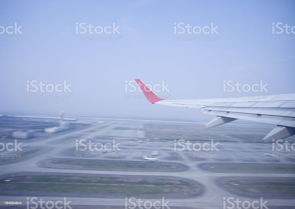 airplane taking off from shanghai pudong airport stock photo