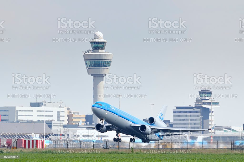 KLM airplane taking off stock photo