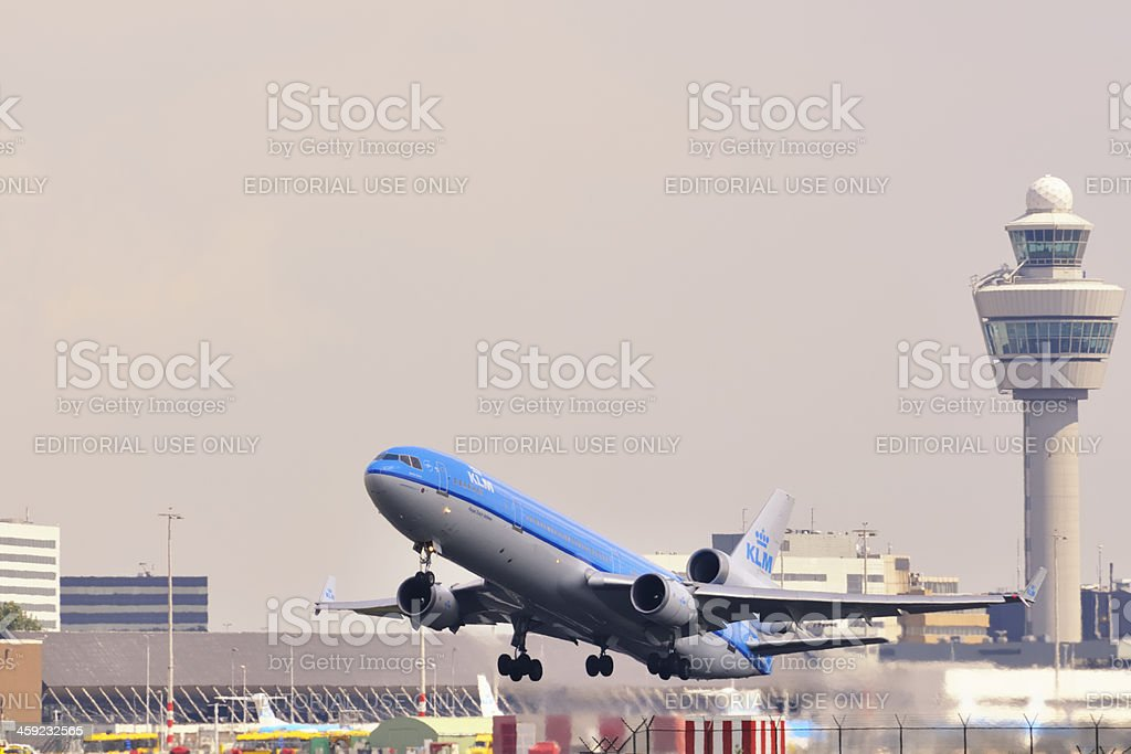KLM airplane taking off royalty-free stock photo