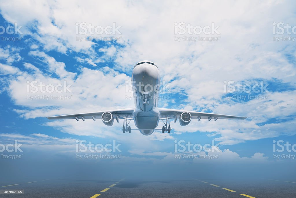 Airplane taking off the ground at airport stock photo