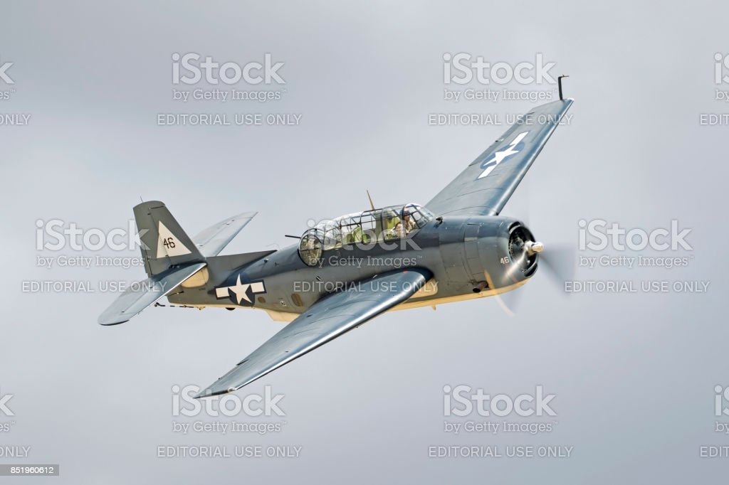 Airplane TBM Avemger WWII bomber aircraft flying at the airshow stock photo