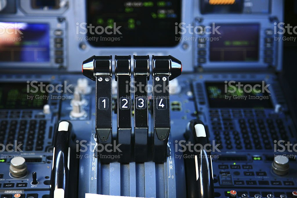 airplane throttle stock photo