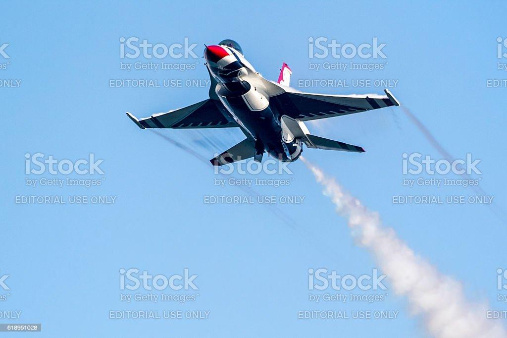 Airplane Thunderbird F-16 fighter stock photo