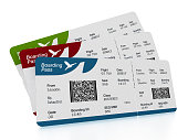 Airplane tickets (boarding passes) on white surface