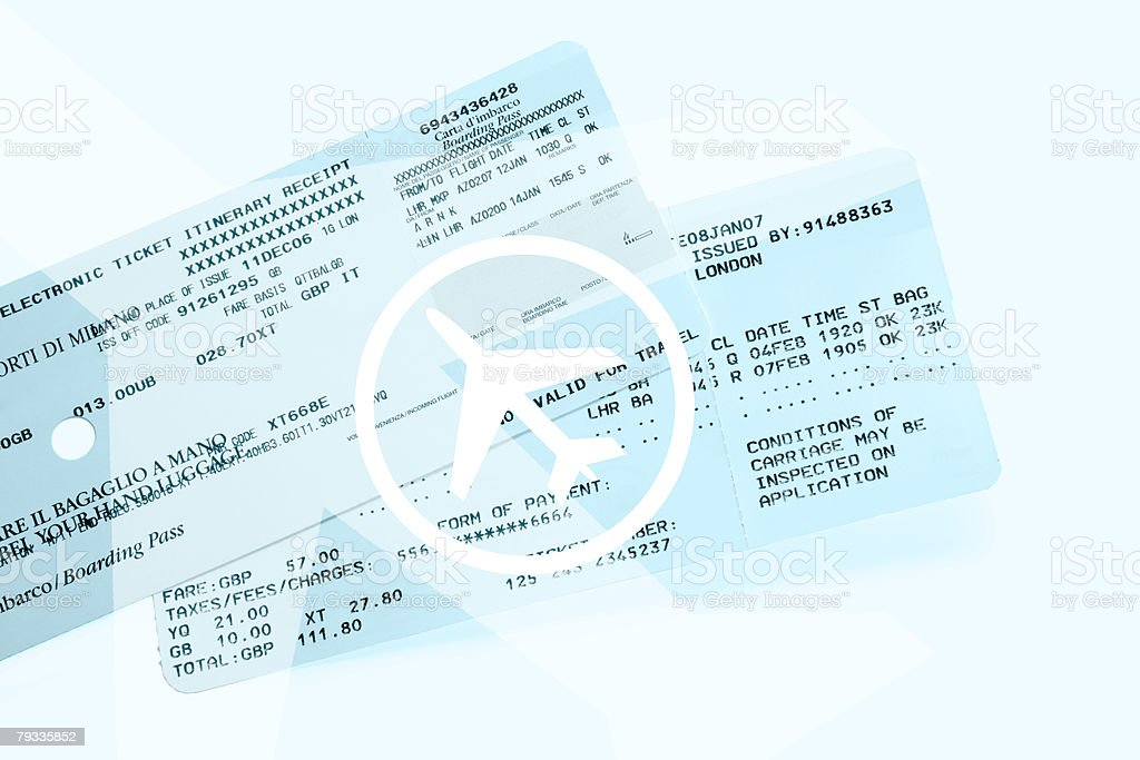 Airplane tickets stock photo