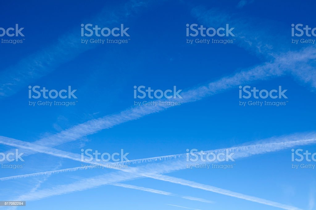 Airplane Trails stock photo