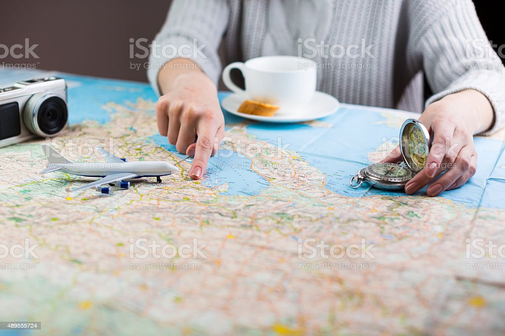 airplane travelling stock photo