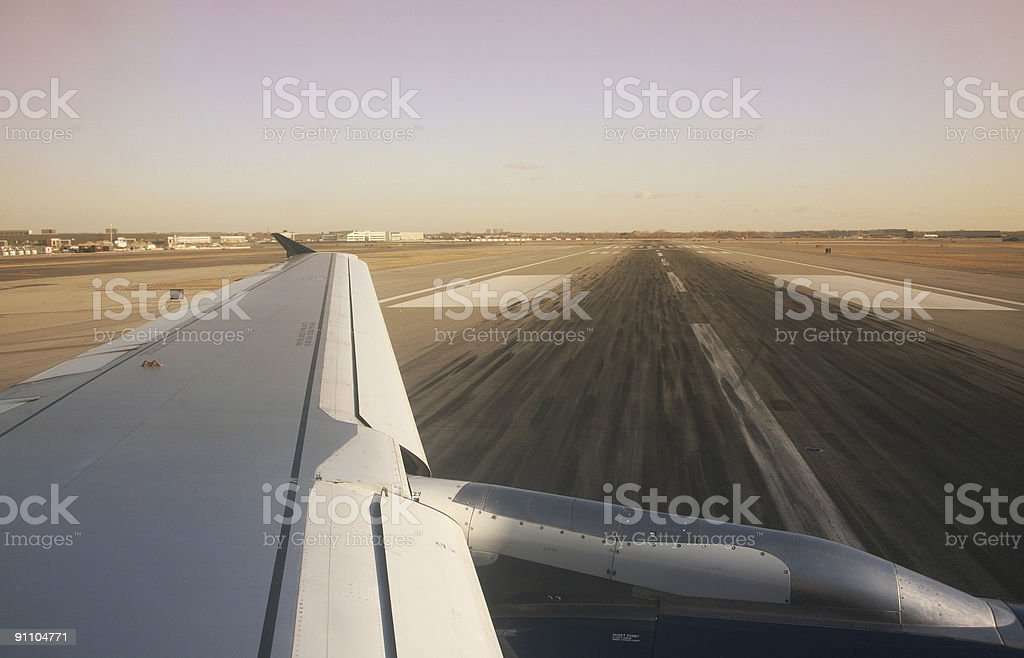 Airplane Turning On Runway royalty-free stock photo
