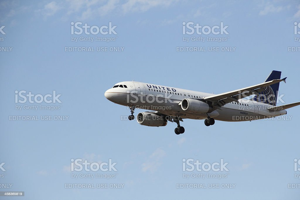 Airplane United Airlines Plane Landing royalty-free stock photo