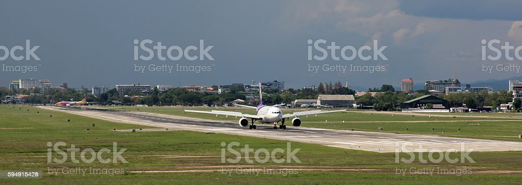 Airplane - up to the airport in Chiang Mai, Thailand stock photo