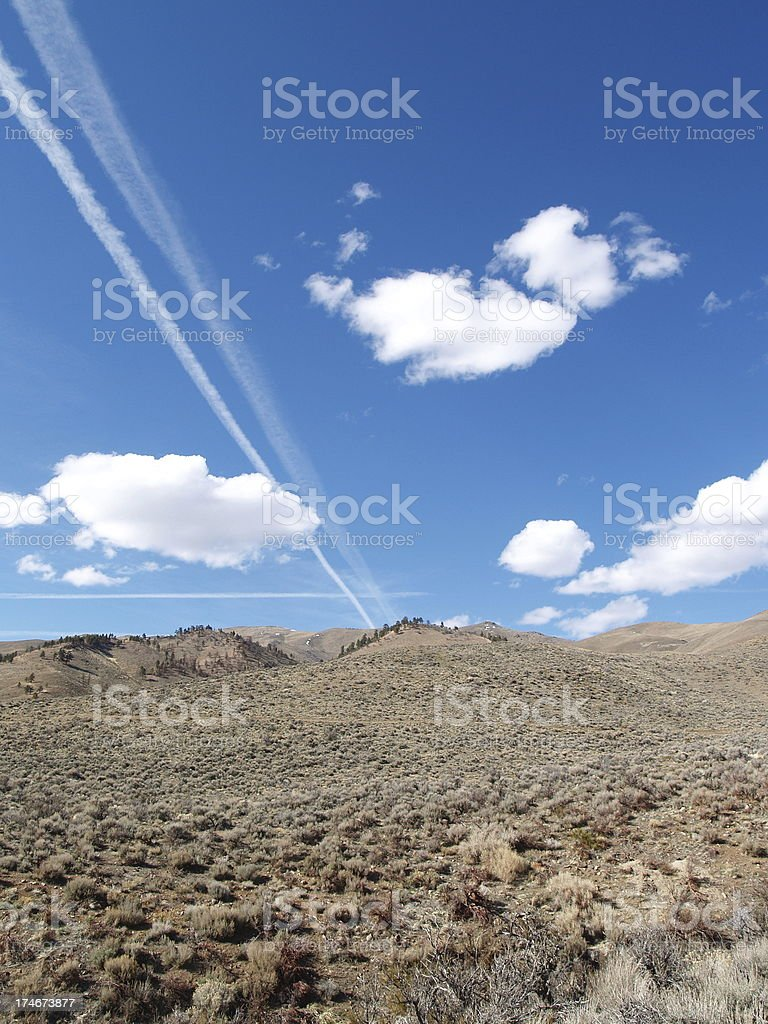 Airplane Vapor Trail royalty-free stock photo