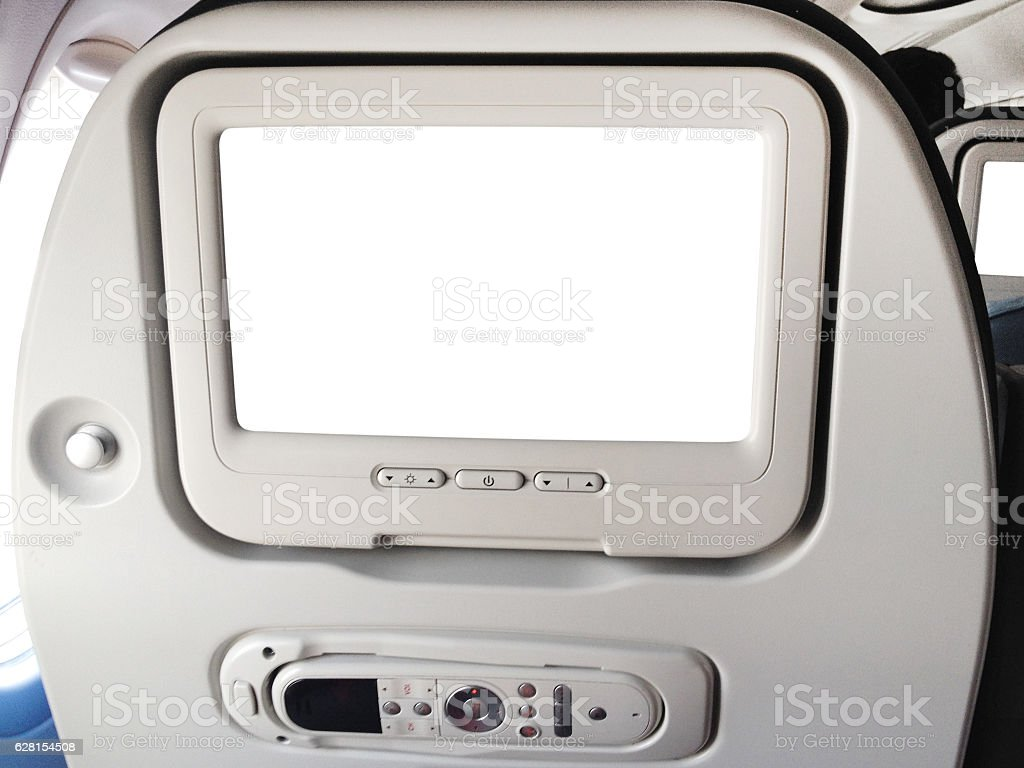 Airplane Video Screen on Back of Seat stock photo